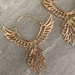 Free People Gold Wings Earrings